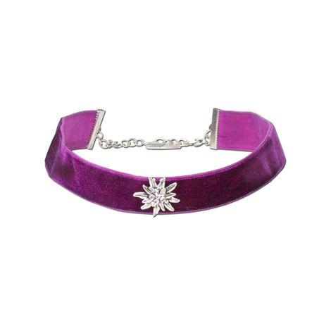 Samt-Kropfband breit Strass-Edelweiß (lila-violett) Bild 1