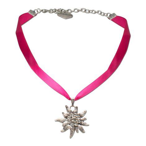 Satin-Halskette Strass-Edelweiß (pink-fuchsia) Bild 1