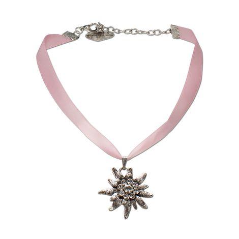 Satin-Halskette Strass-Edelweiß (rosé-rosa) Bild 1