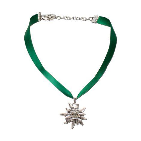 Satin-Halskette Strass-Edelweiß (grün) Bild 1