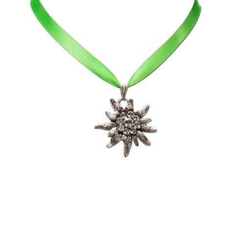 Satin-Halskette Strass-Edelweiß (hell-grün) Bild 2