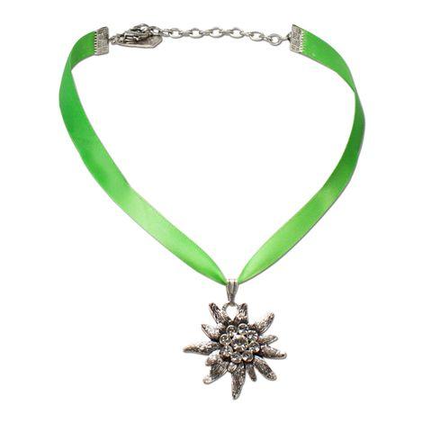 Satin-Halskette Strass-Edelweiß (hell-grün) Bild 1