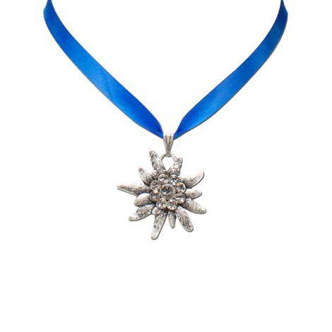 Satin-Halskette Strass-Edelweiß (blau) Bild 2