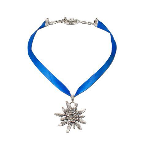 Satin-Halskette Strass-Edelweiß (blau) Bild 1