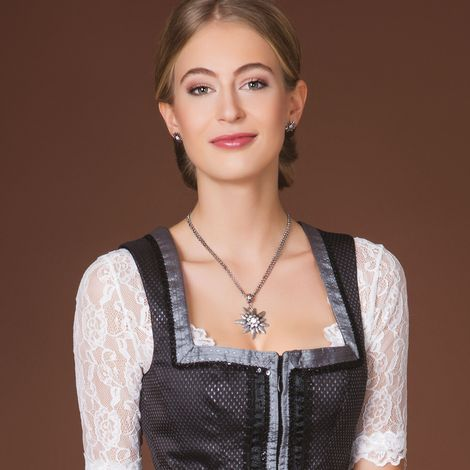 Halskette Strass-Edelweiß (antik-silber-farben) Bild 2