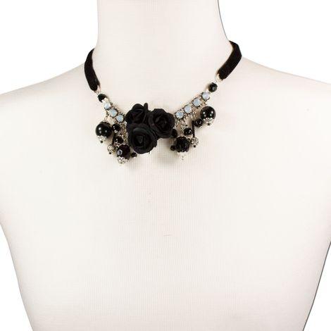 Blüten-Collier Rosi (schwarz) Bild 4