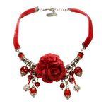 Blüten-Collier Rosi (rot)