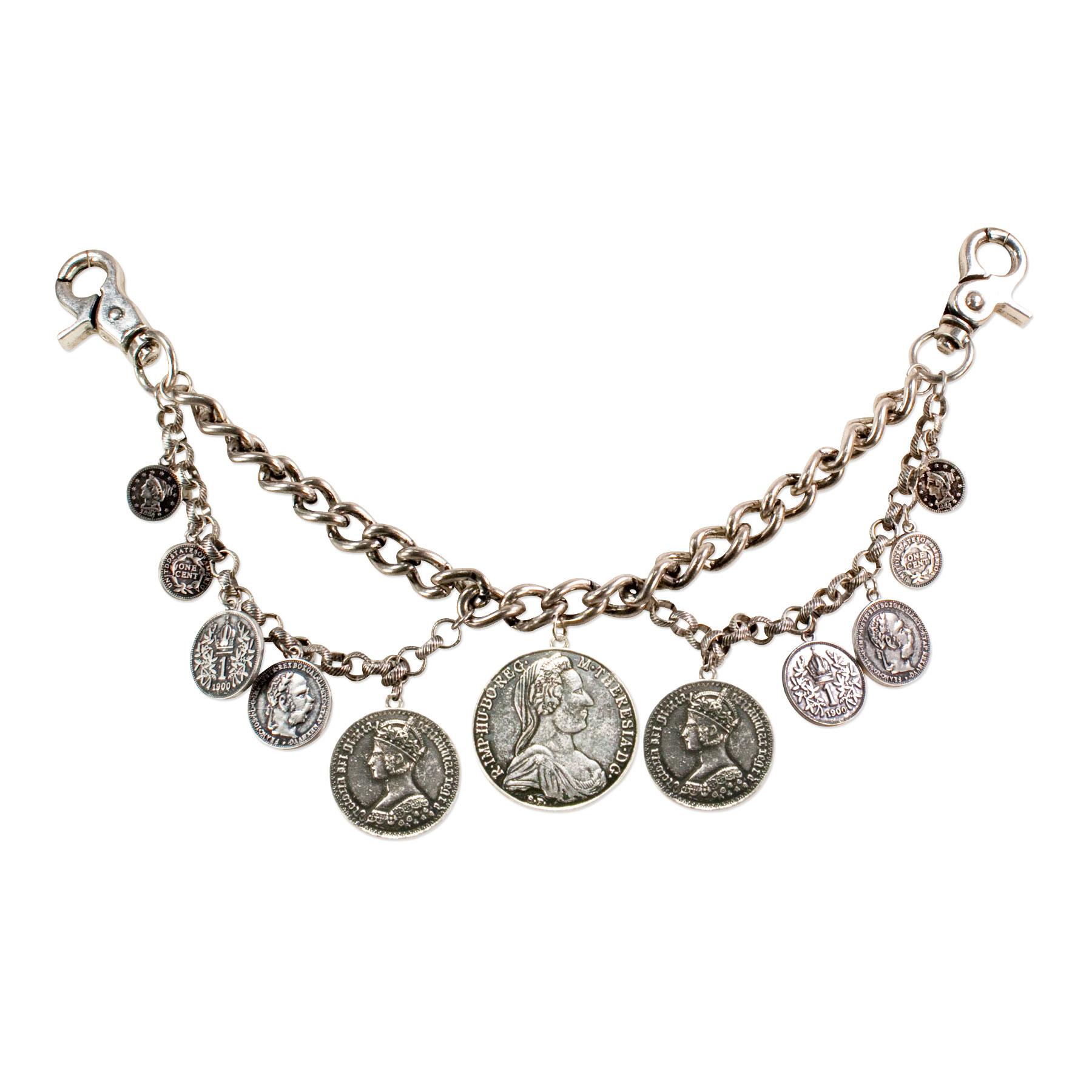 Charivari Münzen Antik Silber Farben Trachtenschmuck Herren