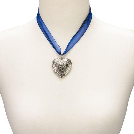 Organza-Halskette Amulett-Herz (blau) Bild 3