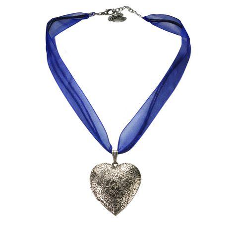 Organza-Halskette Amulett-Herz (blau) Bild 1