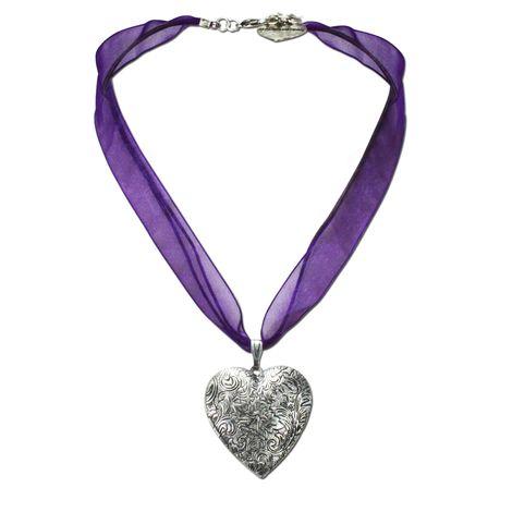 Organza-Halskette Amulett-Herz (lila-violett) Bild 1