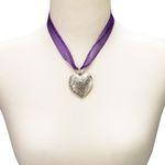 Organza-Halskette Amulett-Herz (lila-violett)