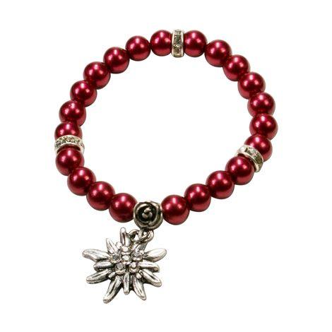 Perlen-Trachten-Armband Fiona mit Strass-Edelweiß (rot)