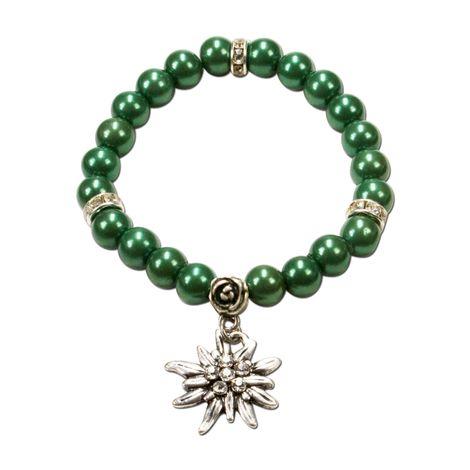 Perlen-Trachten-Armband Fiona mit Strass-Edelweiß (grün)