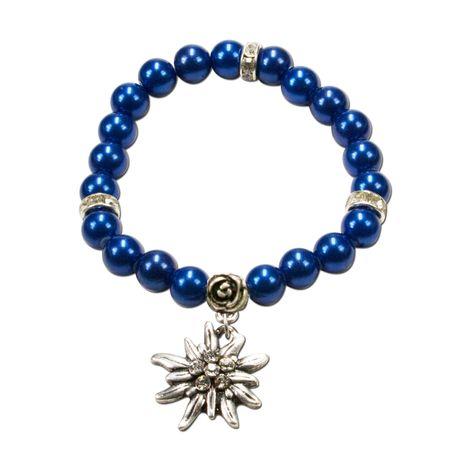 Edelweiß-Perlenarmband Fiona (blau) Bild 1
