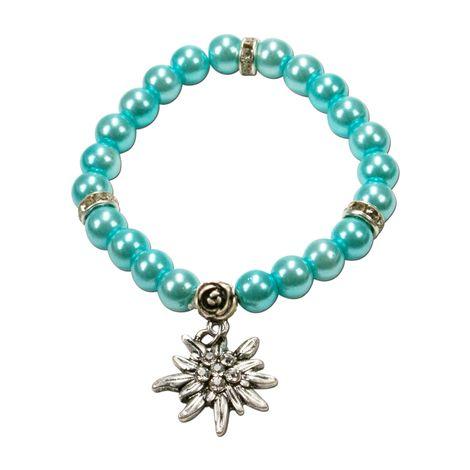 Edelweiß-Perlenarmband Fiona (türkis) Bild 1