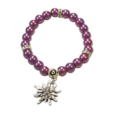 Edelweiß-Perlenarmband Fiona (lila-violett) Bild 1