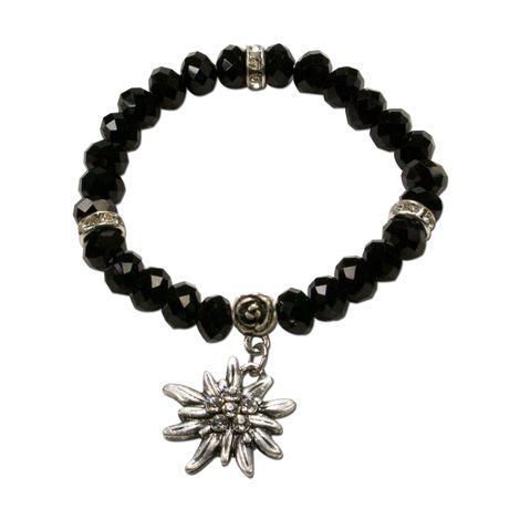 Perlen-Trachten-Armband Fiona Crystal mit Strass-Edelweiß (schwarz)