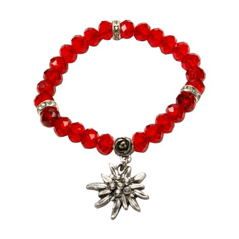 Edelweiß-Perlenarmband Fiona Crystal (rot) Bild 1