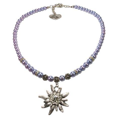 Edelweiß-Perlenkette Fiona (flieder-blau) Bild 1