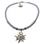 Edelweiß-Perlenkette Fiona (flieder-blau)