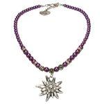 Edelweiß-Perlenkette Fiona (lila-violett)