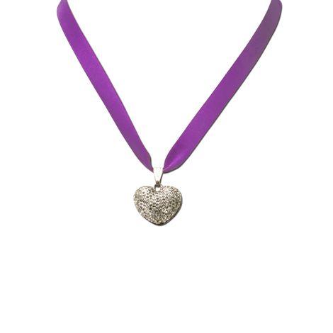 Satin-Trachtenkette Strassherzerl (lila-violett) Bild 2