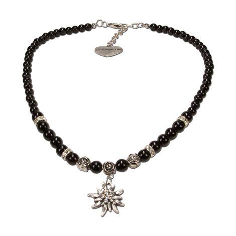 Perlen-Trachtenkette Fiona mit Strass-Edelweiß klein (schwarz)