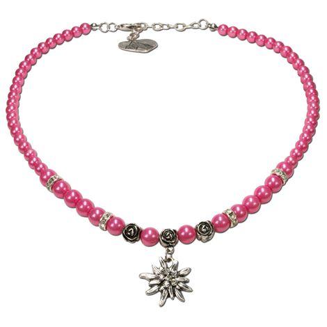 Perlen-Trachtenkette Fiona mit Strass-Edelweiß klein (pink-fuchsia)