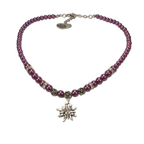Edelweiß-Perlenkette Fiona klein (lila-violett) Bild 1
