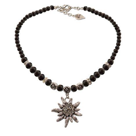 Perlen-Trachtenkette Fiona Crystal mit Strass-Edelweiß groß (schwarz)