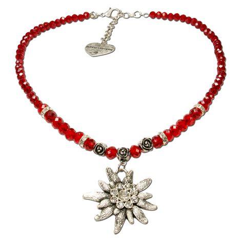 Edelweiß-Perlenkette Fiona Crystal (rot) Bild 1