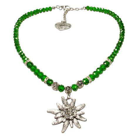 Perlen-Trachtenkette Fiona Crystal mit Strass-Edelweiß groß (grün)