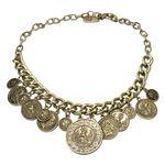 Münz-Trachtenkette Glitzer-Hirsch (antik-gold-farben)