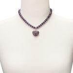 Perlen-Halskette Glitzerzauber (lila-violett)