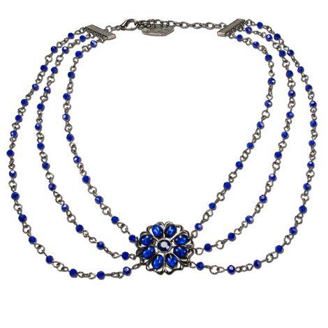 Perlen-Trachtenkette Viola (blau)