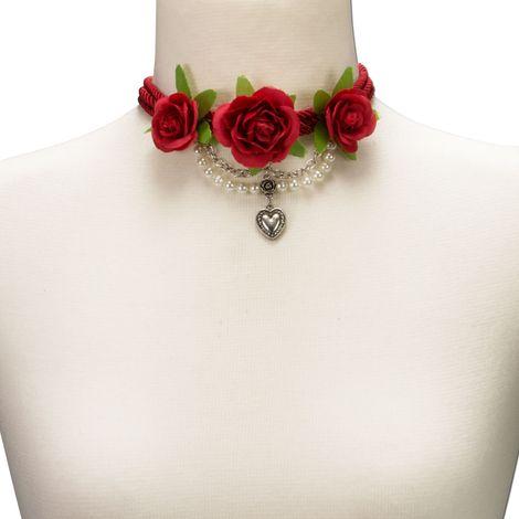 Blüten-Collier Celine (rot) Bild 4