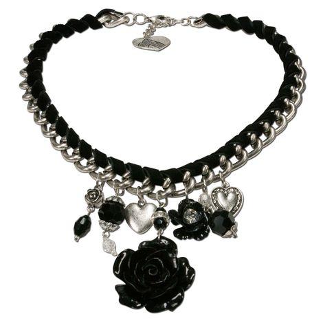 Blüten-Trachtenkette Isabella (schwarz)