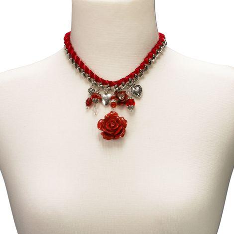 Blüten-Trachtenkette Isabella (rot) Bild 4
