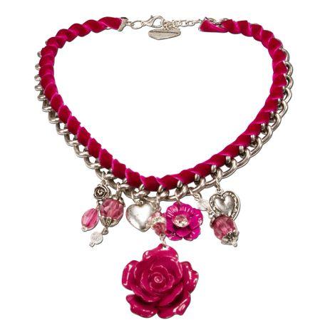 Blüten-Trachtenkette Isabella (pink-fuchsia)