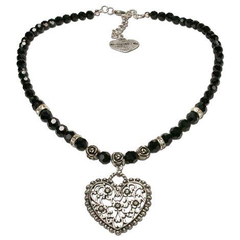 Perlen-Halskette Blütenherz (schwarz) Bild 1