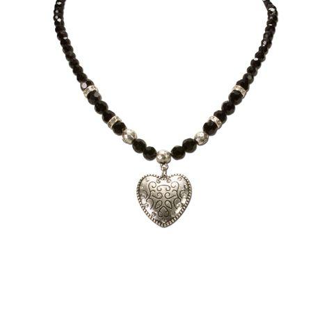 Perlen-Halskette Herz klein (schwarz) Bild 3