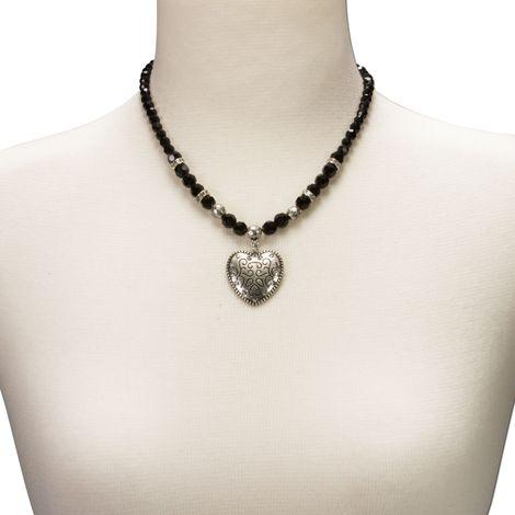 Perlen-Halskette Herz klein (schwarz) Bild 4