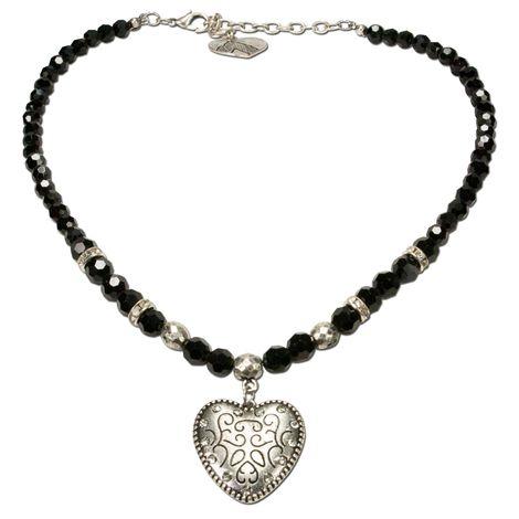 Perlen-Halskette Herz klein (schwarz) Bild 1