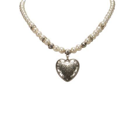 Perlen-Halskette Herz klein (weiß) Bild 3