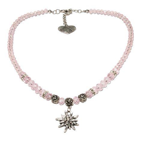 Perlen-Trachtenkette Fiona Crystal mit Strass-Edelweiß klein (rosé-rosa)