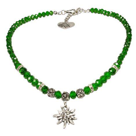 Edelweiß-Perlenkette Fiona klein Crystal (grün) Bild 1
