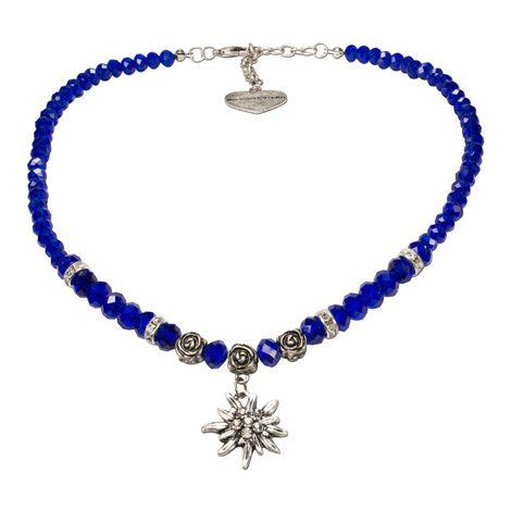 Perlen-Trachtenkette Fiona Crystal mit Strass-Edelweiß klein (blau)
