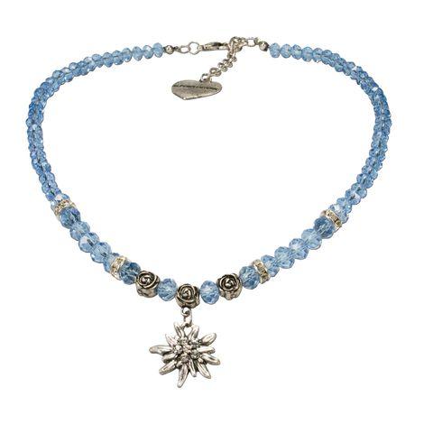 Perlen-Trachtenkette Fiona Crystal mit Strass-Edelweiß klein (hell-blau)