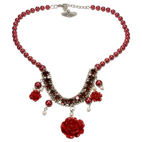 Blüten-Perlenkette Flora (rot) Bild 1